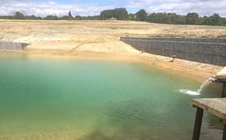 Lake and resevoir created using gabion baskets.